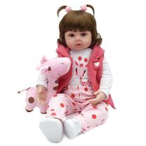Boneca Bebe Reborn Laura Baby Valentina 48 cm corpo algodão -