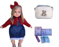 Boneca Bebê Reborn Loira Com Cílios Acessórios e Bolsa Maternidade - Doce Magia