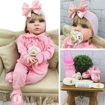 Boneca Bebê Reborn Loira Com Cílios Roupa Rosa 16 itens - Bebe reborn baby