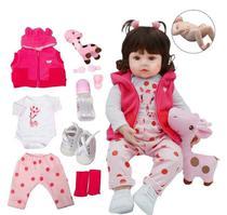 Boneca Bebê Reborn Menina Girafinha - 100% Silicone - Ot Toys