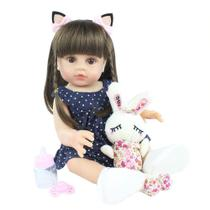 boneca bebe reborn menina  silicone com urso de pelucia - bzdoll