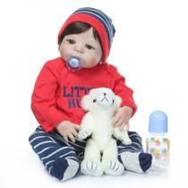 boneca bebe reborn menino 55cm realista corpo todo de silicone - Npk Collection