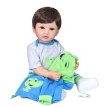 boneca bebê reborn menino corpo vinil silicone macio 55 cm pronta entrega - Dominio Imports