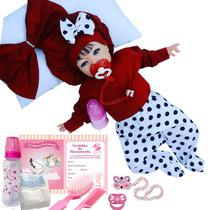 Boneca Bebê Reborn Morena Roupa Vermelha - Sid nyl
