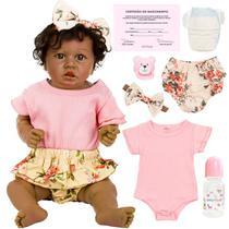 Boneca Bebê Reborn Negra Menina Realista Carol UniDoll -