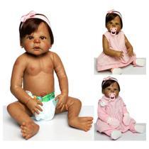 Boneca Bebê Reborn Negra Sofia Corpo de Silicone Realista Manchas de Frio e Veias - Mundo Kids