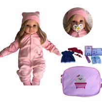 Boneca Bebê Reborn Princesa Loira Roupa Rosa 50cm - Sonho De Criança