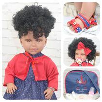Boneca Bebê Reborn Princesa Morena Roupa Rosa 53cm - Bebe Reborn Baby
