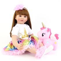 Boneca Bebê Reborn Real Realista 60 cm Menina Cabelo Grande Penteado Acessórios Unicórnio - Anjos E Bebes