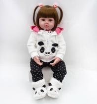 boneca bebe reborn realista 48cm roupinha de panda - Npk Collection