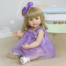boneca bebê reborn realista 55 cm corpo macio 100% em silicone pronta entrega - Dominio Imports