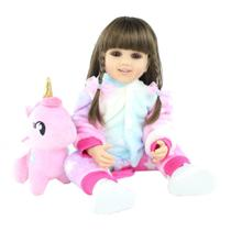 boneca bebê reborn realista corpo silicone 55cm acompanha o pelúcia das fotos - Bzdoll