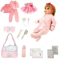 Boneca Bebê Reborn Realista Isadora Loira Menina + 16 Itens - Outras Marcas