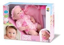 Boneca Bebe Recem Nascida New Born Faz Xixi Com Acessórios - Divertoys