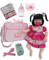 Boneca Bebe Tipo Reborn Completa + Bolsa Maternidade -