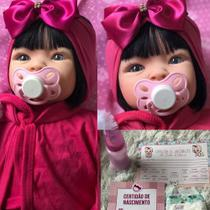 Boneca Bebê Tipo Reborn Menina Morena Rosa Pink - Sonho De Criança
