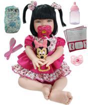 Boneca Bebe Tipo Reborn Morena Completa Com acessórios -