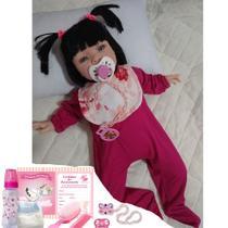 Boneca bebe tipo reborn Princesa Rosa com babador - Sid nyl
