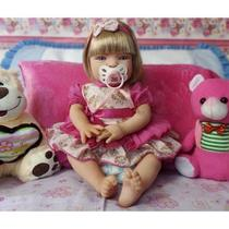 Boneca Bebê Tipo Reborn Realista Loira - Kit Acessórios - Sid Nyl