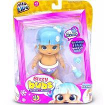 Boneca Bizzy Bubs Nevinha Anda e Fala Igual Bebê Azul DTC -
