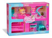 Boneca Brinquedo Little Dolls Baby Casinha Alive + 6 Itens - Divertoys