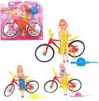 Boneca Ciclista Fashion Com Bicicleta E Capacete Colors Na C - Wellmix