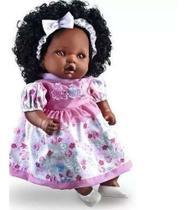 Boneca Com Cabelo Angelina Negra 62 Frases Reborn - Milk - Milk Brinquedos