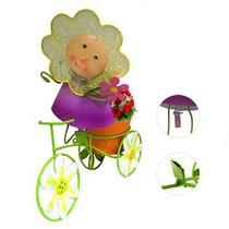 Boneca de Flor com Bicicleta Enfeite e Decoraçao Jardim Casa Flores Vaso Laranja (BON-P-11) - Braslu