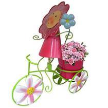 Boneca de Flor com Bicicleta Enfeite e Decoraçao Jardim Casa Flores Vaso Rosa (BON-P-11) - Braslu