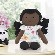 Boneca de Pano Negra Naná Floral Moderna Grão de Gente -
