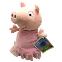 Boneca De Pelúcia Infantil Porca Peppa Pig 30 cm Vestido Rosa Bailarina Irmã George Pig - Estrela -
