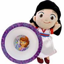 Boneca De Pelúcia Mulan Disney Mais Tigela Princesinha Sofia - Mundo Plush