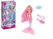 Boneca Duda a Princesa Sereia Encantada com Luz e Vários Acessórios - 20 cm - Wellmix