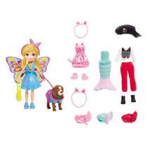 Boneca e Acessórios - Polly Pocket - Polly e Cachorrinho com Fantasias - Mattel -