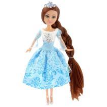 Boneca e Acessórios - Sparkle Girlz - Winter Princess - Morena com Vestido Azul - DTC -