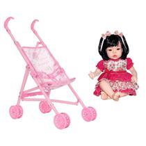 Boneca Infantil Baby Kiss Morena Sid-Nyl + Carrinho de Boneca Dobrável Polibrinq - Sid Nyl