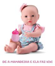 Boneca Menina  New Born Primeiros Cuidados Faz Xixi Vinil - Divertoys -