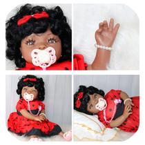 boneca negra bebe reborn cabelos cacheados+chupeta pulseira - Minha Boneca Bebê Reborn