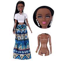 Boneca Negra Estilo Barbie Articulada 32cm Africana azul - Fantasy