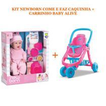 Boneca new born come e faz caquinha massinha ref.: 8080 + carrinho de boneca baby alive ref.: 8141 - Divertoys