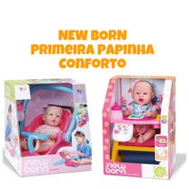 Boneca New Born Primeira papinha + Conforto KIT COM 2 - Divertoys