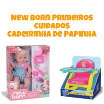 Boneca New Born Primeiros Cuidados + Cadeirinha de Papinha Baby Alive Divertoys -