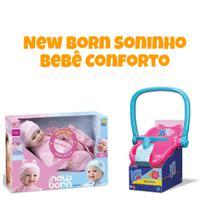 Boneca New Born Soninho Menina Som/Fala 8065 + Bebê conforto Baby Alive Kit 2 peças Divertoys  8142 -