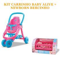 Boneca newborn bercinho ref.: 8090 + carrinho de boneca baby alive ref.: 8141 divertoys -