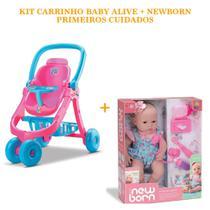 Boneca newborn primeiros cuidados ref.: 8114 + carrinho baby alive ref.: 8141 divertoys -