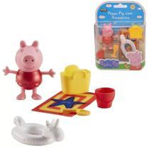 Boneca Peppa Pig 05 cm Roupa Vermelha e Acessórios - Sunny -