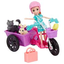 Boneca Polly Pocket - Polly Aventura de Bicicleta com Pet - Lila - Mattel -