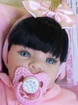 Boneca Reborn Bebê Realista 14 Itens Pronta Entrega Menina Morena - Carinha De Anjo