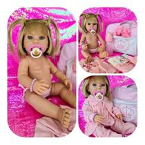 Boneca Reborn Bebê Realista 23 Itens Pronta Entrega Menina Loira Bolsa Maternidade Original Silicone - Carinha De Anjo