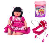 Boneca Reborn com Carrinho de Rosa e Slime para Brincar - Sid-Nyl